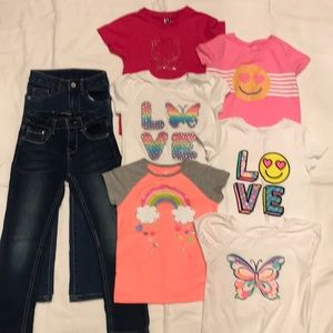 Other - Lot of 7:  Five tops & one pair jeans size 5